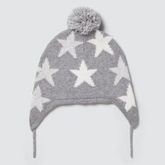 Star Knit Beanie  MID GREY MARLE  hi-res