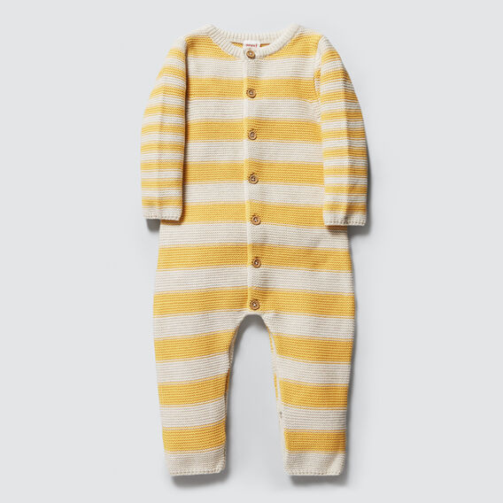 Knitted Stripe Jumpsuit  PALE MUSTARD  hi-res
