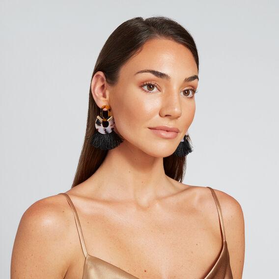 Tassel Tort Earring  TORT/ BLACK  hi-res