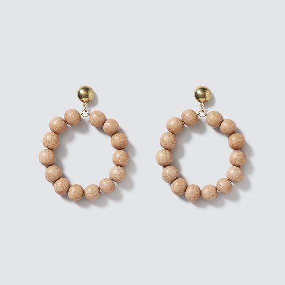 Wood Bead Earrings  NATURAL  hi-res