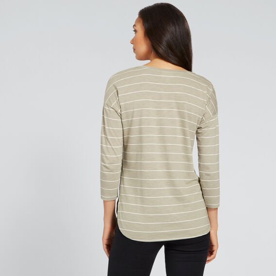 3/4 Sleeve Top  WASHED OLIVE/OYSTER  hi-res