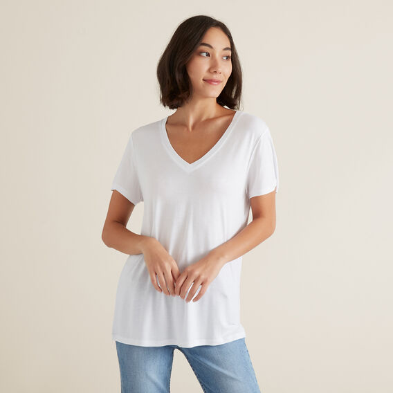 Core V Neck Drapey Tee  WHISPER WHITE  hi-res