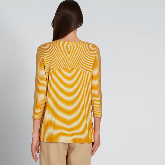 Slouchy 3/4 Sleeve Top  GOLDEN MUSTARD STRPE  hi-res