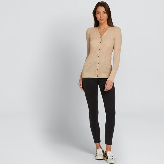 Ribbed Cardigan  SOFT BEIGE MARLE  hi-res