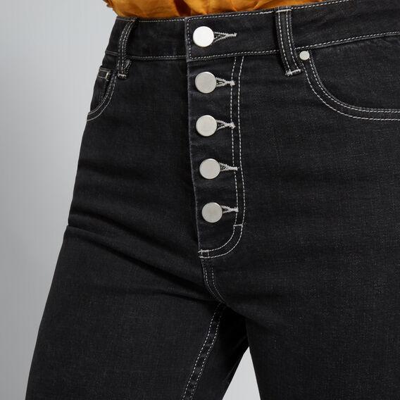 Button Through Jean  WASHED BLACK  hi-res