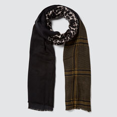 Multi Pattern Scarf  BLACK MULTI  hi-res