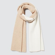 Two Tone Knit Scarf  CAMEL/CREAM  hi-res
