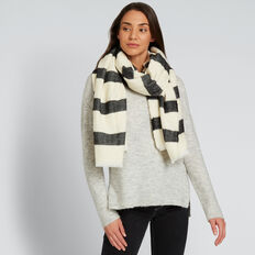 Wide Stripe Scarf  BLACK/CREAM  hi-res