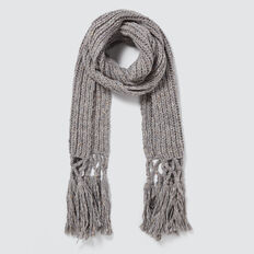 Tassel Knit Scarf  GREY SPECKLE  hi-res