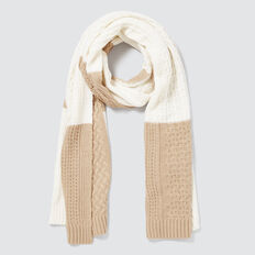 Patchwork Scarf  CREAM MULTI  hi-res