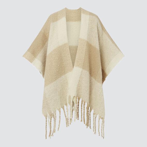 Check Knit Poncho  BEIGE CREAM  hi-res