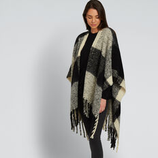 Check Knit Poncho  BLACK/CREAM  hi-res