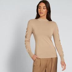 Crepe Roll Neck Knit  SOFT BEIGE  hi-res