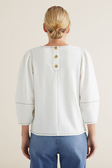 Sleeve Seam Detail Top  CLOUD CREAM  hi-res