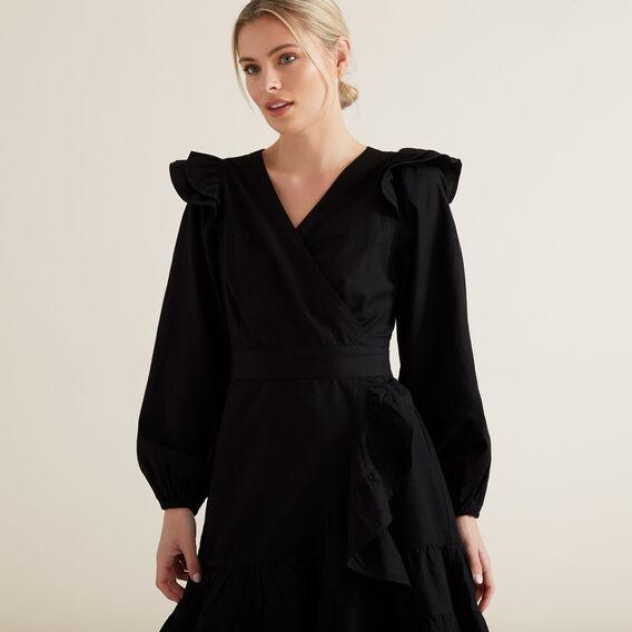 Wrap Front Frill Dress  BLACK  hi-res