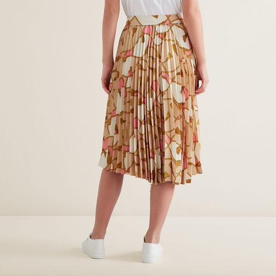 Asymmetric Pleat Skirt  SCARF PRINT  hi-res