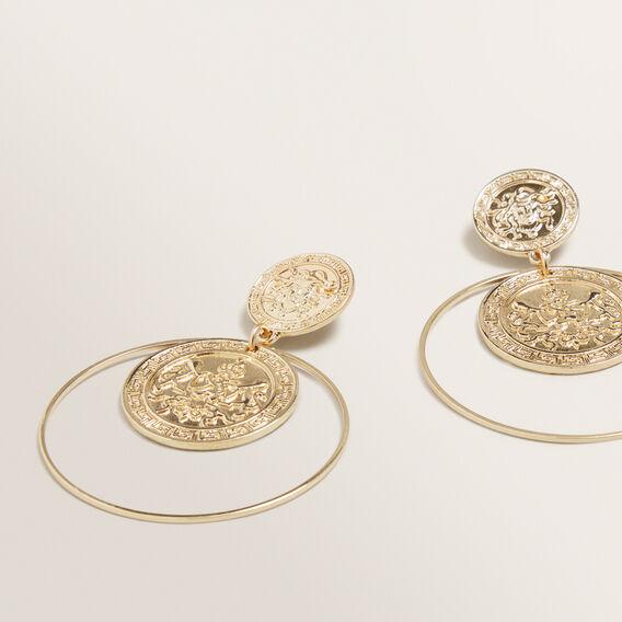 Coin Stud Hoops  GOLD  hi-res