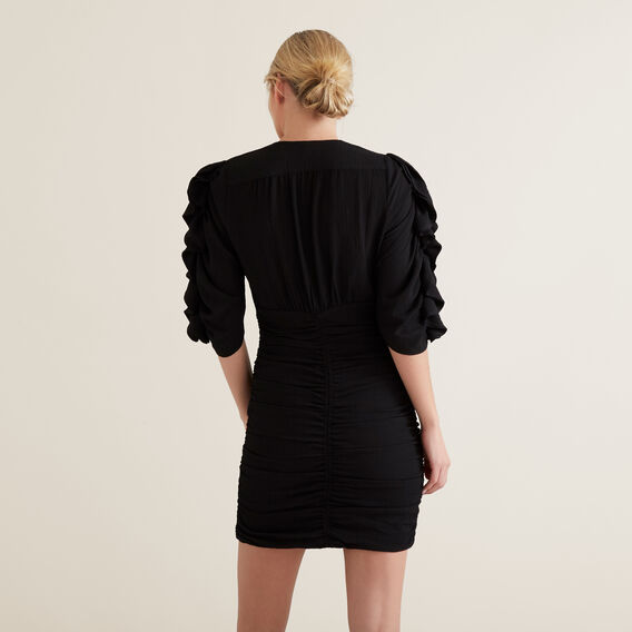 Textured Frill Sleeve Dress  BLACK  hi-res