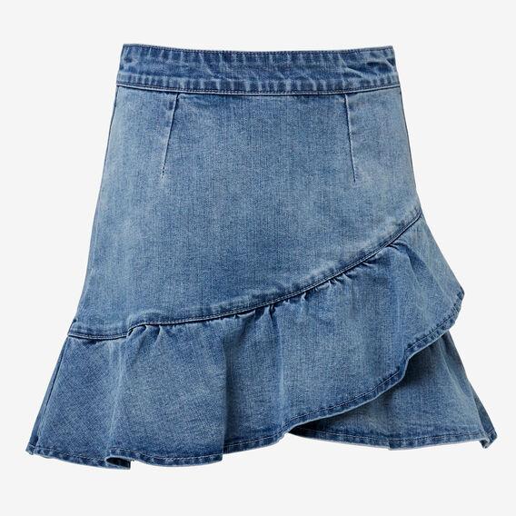 Ruffle Denim Skirt  BRIGHT WASH  hi-res
