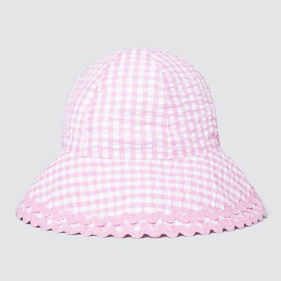 Wide Brim Gingham Sun Hat  BRIGHT LILAC  hi-res
