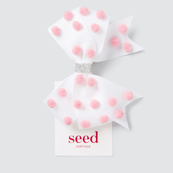 Spotty Pom Pom Bow  PINK/WHITE  hi-res