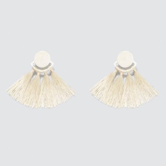 Tonal Tassel Earrings  CREAM  hi-res