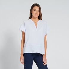 Comfy Frill Sleeve Top  CHAMBRAY STRIPE  hi-res