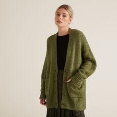 Cosy Button Down Cardigan  CEDAR GREEN  hi-res
