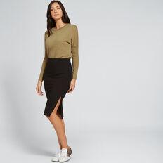 Side Split Ponte Skirt  BLACK  hi-res