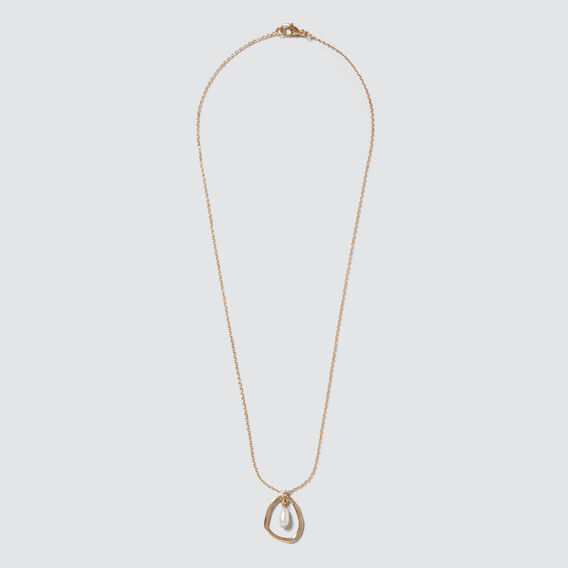 Chain Pearl Necklace  GOLD  hi-res