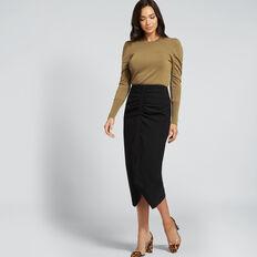 Gathered Centre Skirt  BLACK  hi-res