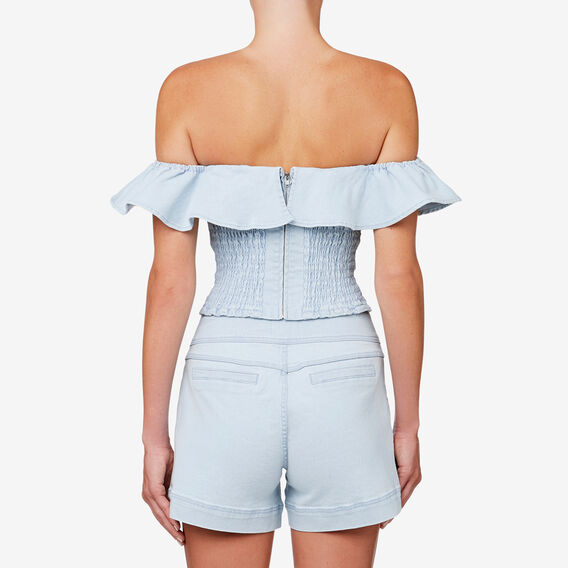 Denim Frill Top  SKY BLUE DENIM  hi-res