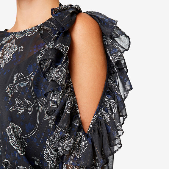 Split Frill Sleeve Dress  DEEP NAVY FLORAL  hi-res