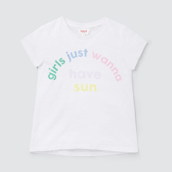Rainbow Slogan Tee  WHITE  hi-res