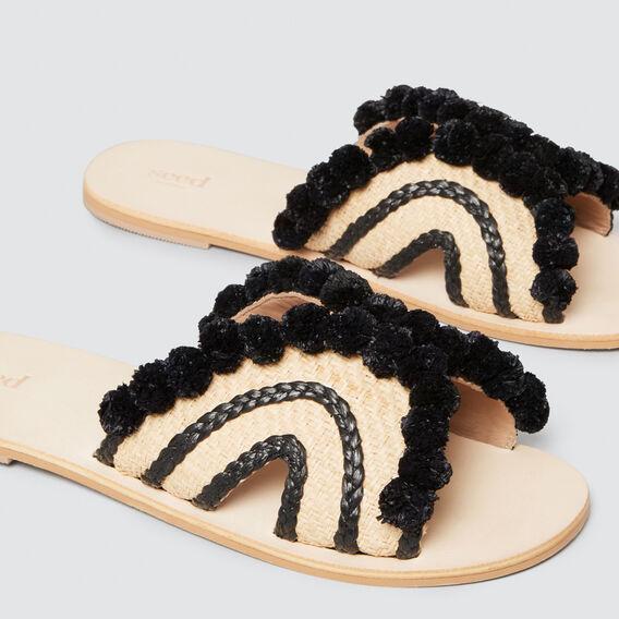Naomi Pom Pom Slide  NATURAL/BLACK  hi-res