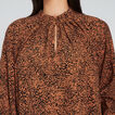 Pleated Collar Blouse  ANIMAL PRINT  hi-res