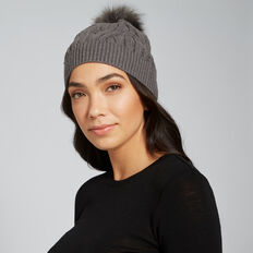 Cable Knit Beanie  CHARCOAL  hi-res