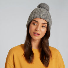 Rib Knit Pom Pom Beanie  GREY SPECKLE  hi-res