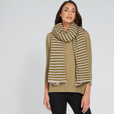 Stripe Knit Scarf  KHAKI STRIPE  hi-res