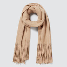 Plush Knit Scarf  SOFT BEIGE MARLE  hi-res