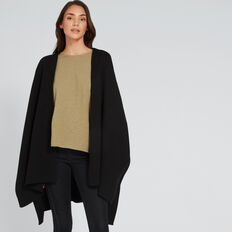 Rib Sleeve Poncho  BLACK  hi-res
