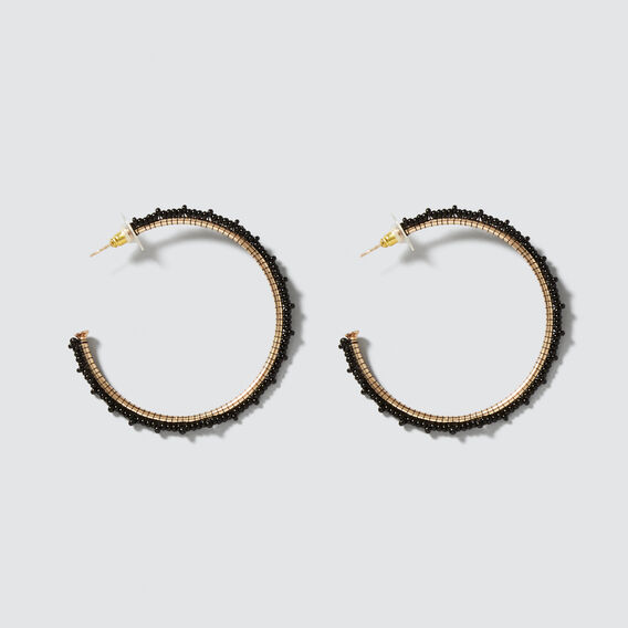 Beaded Hoop Earrings  GOLD/BLACK  hi-res