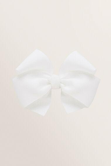 Large Grosgrain Bow Hair Clip  WHITE  hi-res