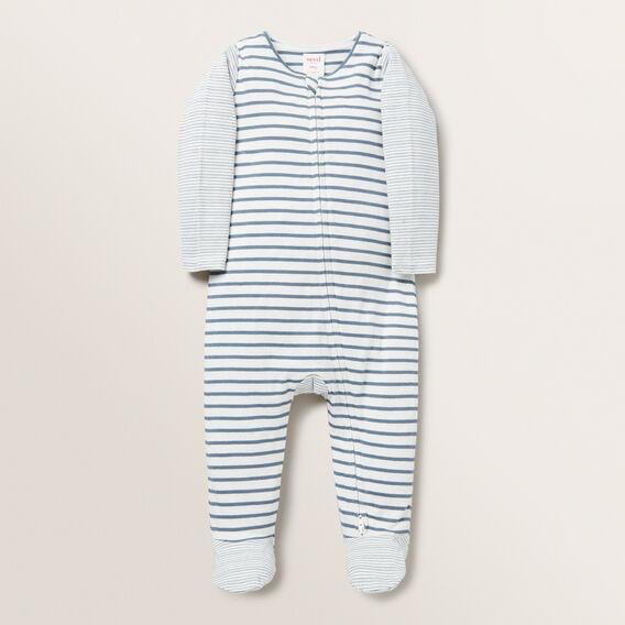 Multi Stripe Zip Suit - (Available in size 00000)  DENIM BLUE  hi-res