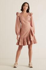 Wrap Front Frill Dress  ROSE BLUSH  hi-res