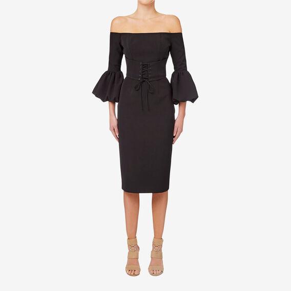 Corset Detail Dress  BLACK  hi-res