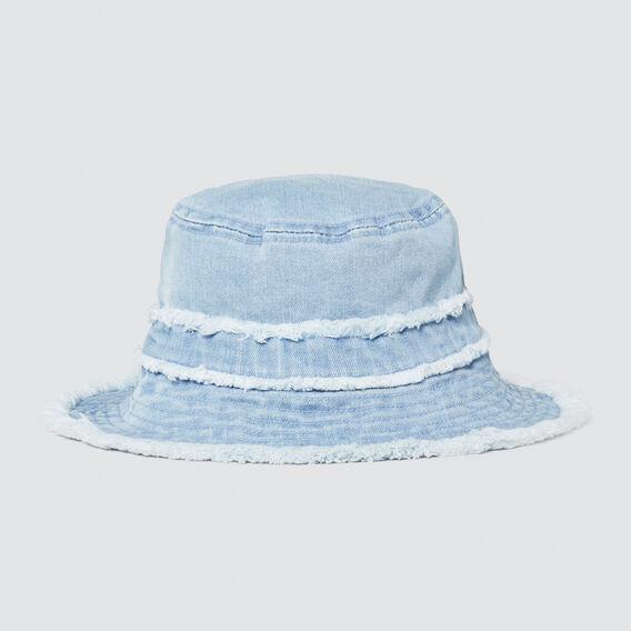 Frayed Denim Bucket Hat  CHAMBRAY  hi-res