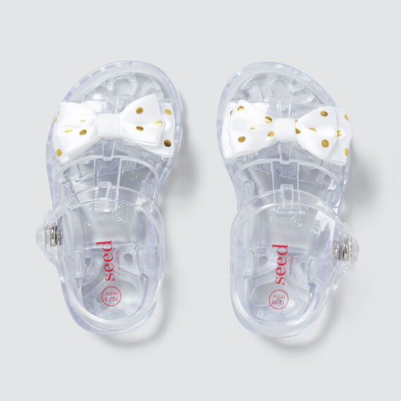 Fabric Bow Jelly Sandal  WHITE/GOLD  hi-res