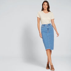 Asymmetric Denim Midi  CLASSIC DENIM  hi-res