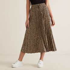 Pleated Skirt  ANIMAL PRINT  hi-res